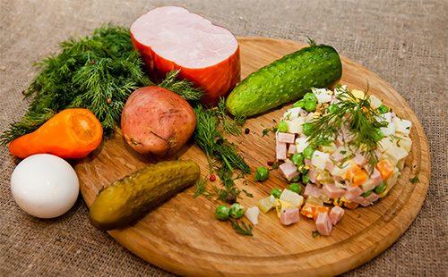 Ингредиенты для салата Ольвье