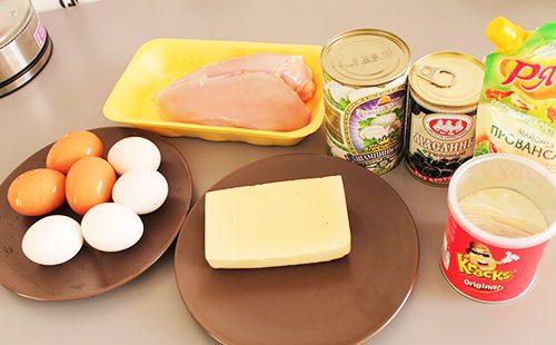 Ингредиенты для салата Подсолнух